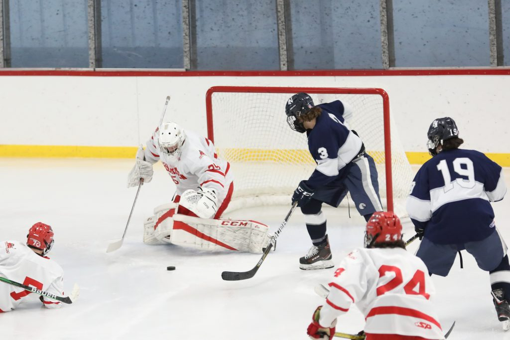 Junior goalie Luke Merian didn't face many shots during the game, but stopped all but one.