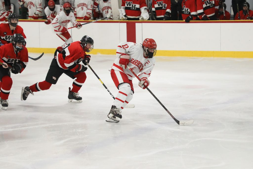 Senior captain defenseman Tommy McNally turns defense into offense on this rush.