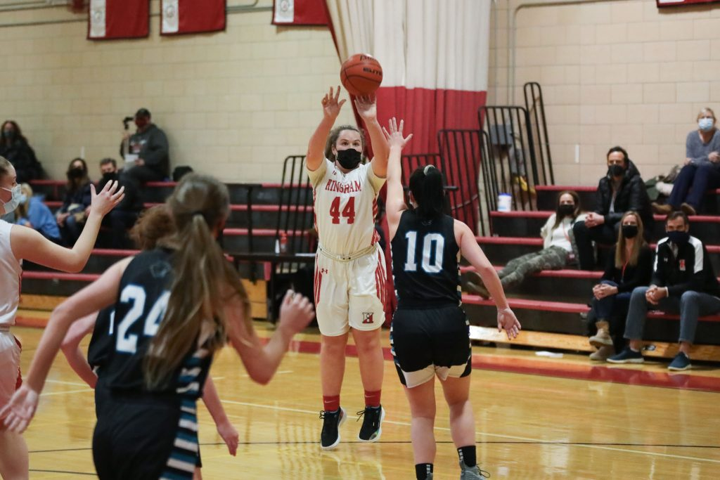 Sophomore Sarah Holler hits her first basket of her high school career.