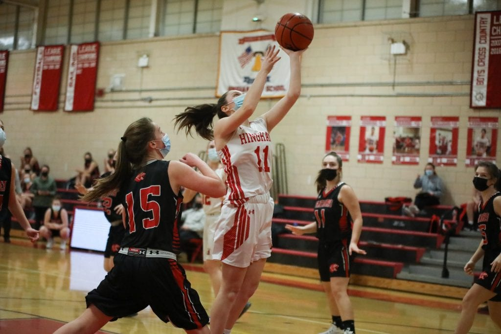 Sophomore Katie Foley puts up a rebound.