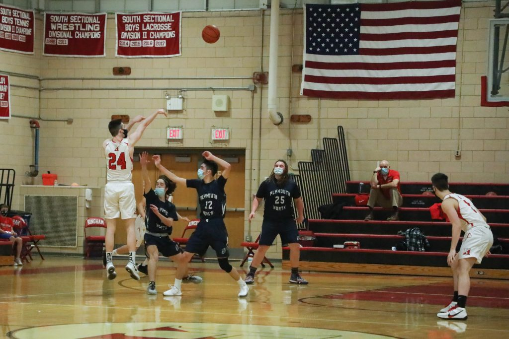 Senior captain Steven White pulls up for one of his two first quarter 3-pointers.