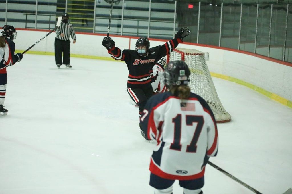 Sophomore Abbey Kennedy celebrates her goal.