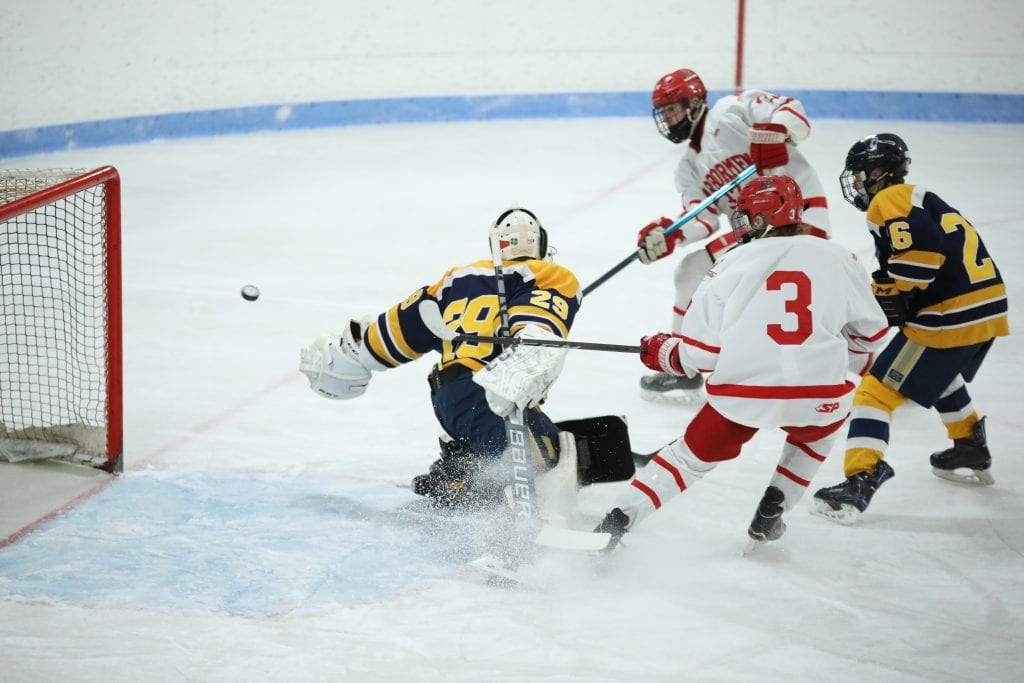 Sophomore Aidan Brazel scores the game's first goal.