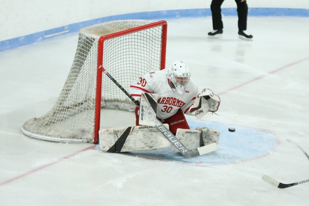 Senior Theo Jacobs came up with some big saves, especially in the second period.