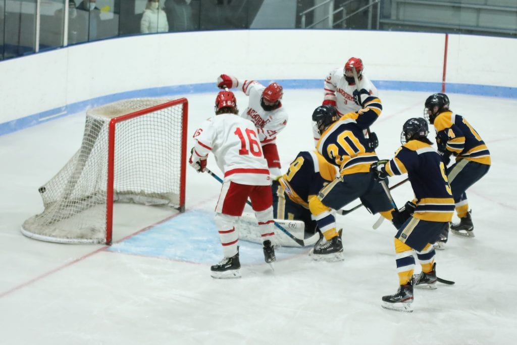 Senior Lars Osterberg puts one in the back of the net to tie the game at 2.
