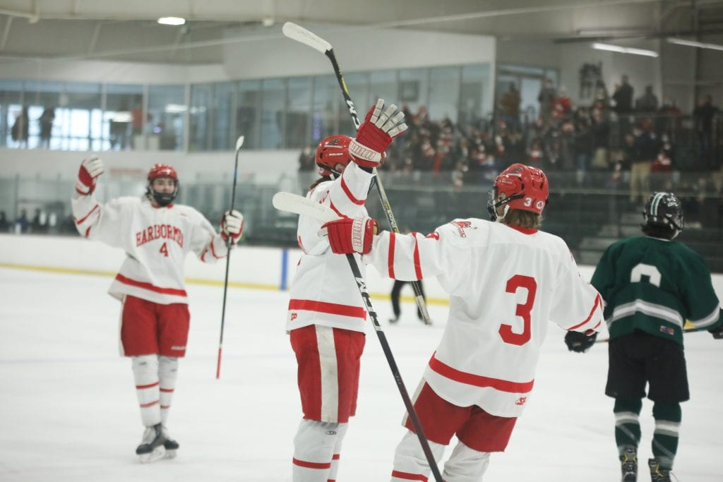 Senior captain Paul Forbes celebrates his goal in the first period.