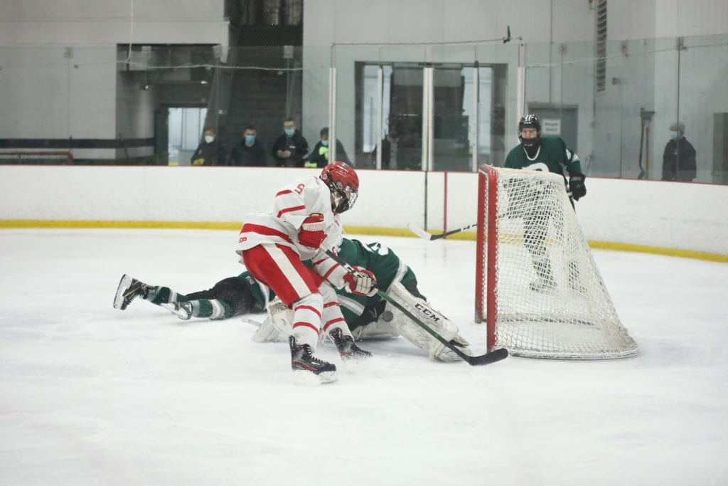 Junior Sean Garrity came this close to getting a hat trick.