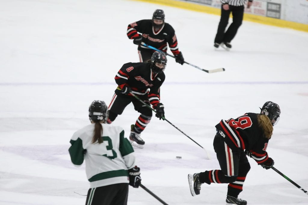 Freshman Reese Pompeo breaks the puck out of her zone in the first period.
