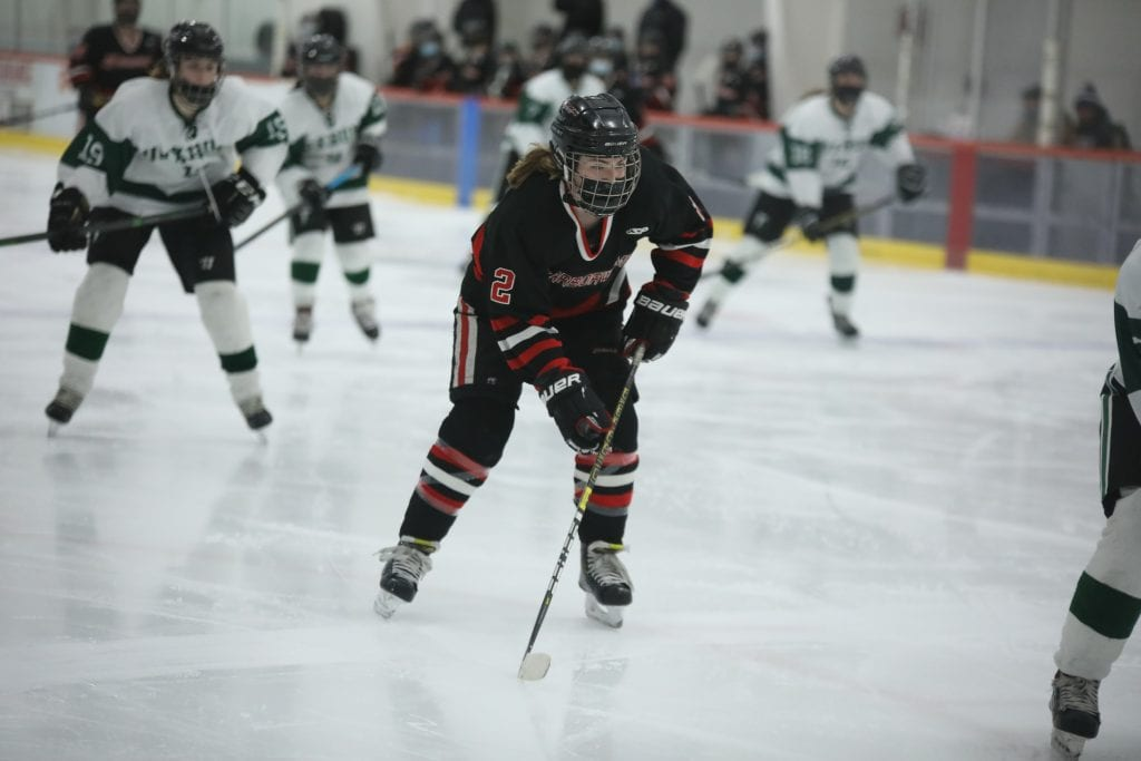 Junior Ryan Maguire trying to get the Harborwomen on the board in the third period.