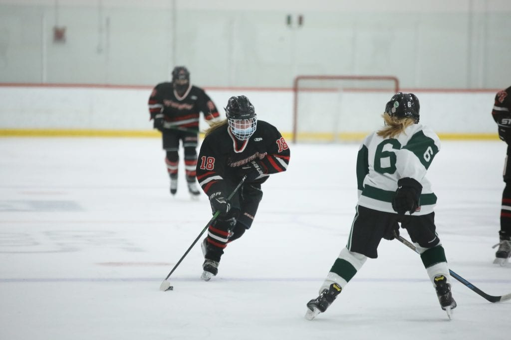 Sophomore Piper Jordan brings the puck over the blue line.