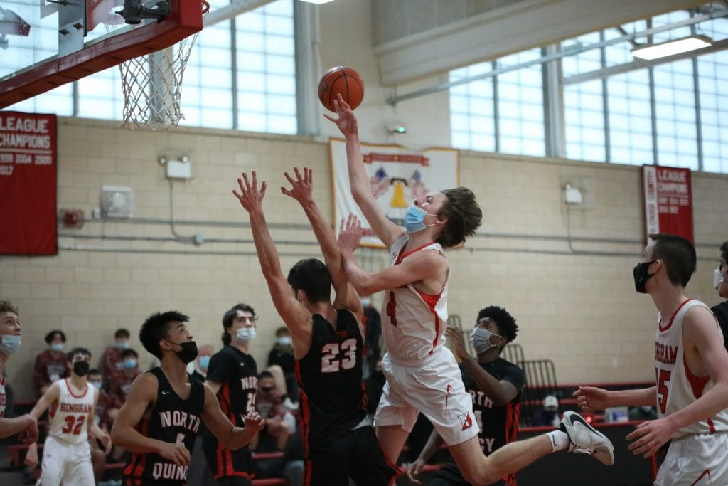 Junior Nick Johannes follows up the block with a drive to the basket, where he is fouled.