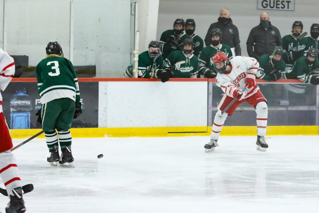 Junior Bobby Falvey continued his scoring streak by netting the first goal of the game. So