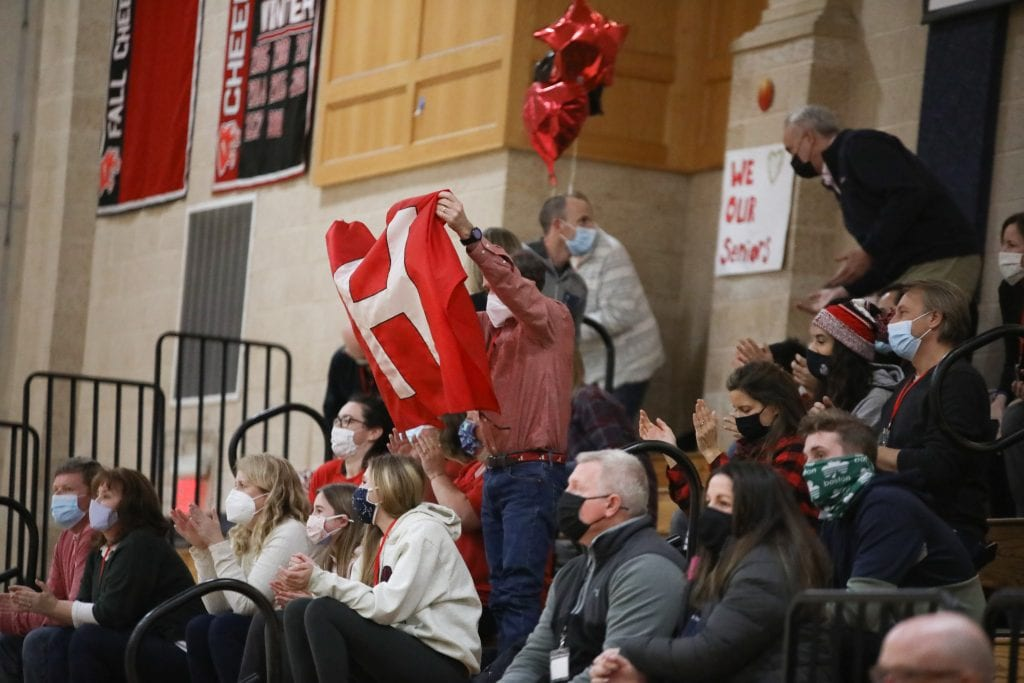 Hingham parents cheering their team on.
