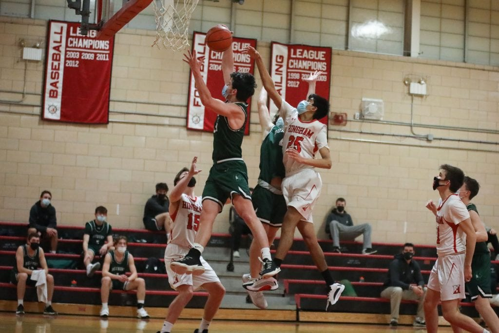 Junior Shrey Patel played significatnt minutes off the bench, almost blocked this shot.