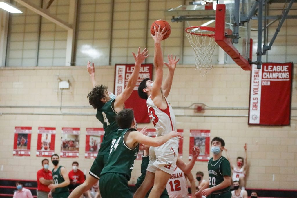 Senior Nate LaRhette grabs a rebound late in the game.