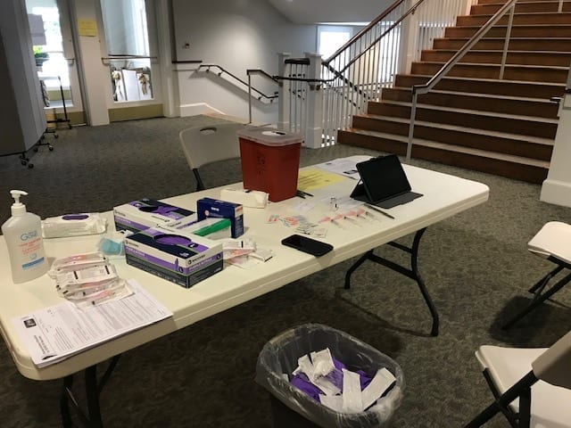 A Hingham vaccine distribution center set-up at South Shore Baptist Church