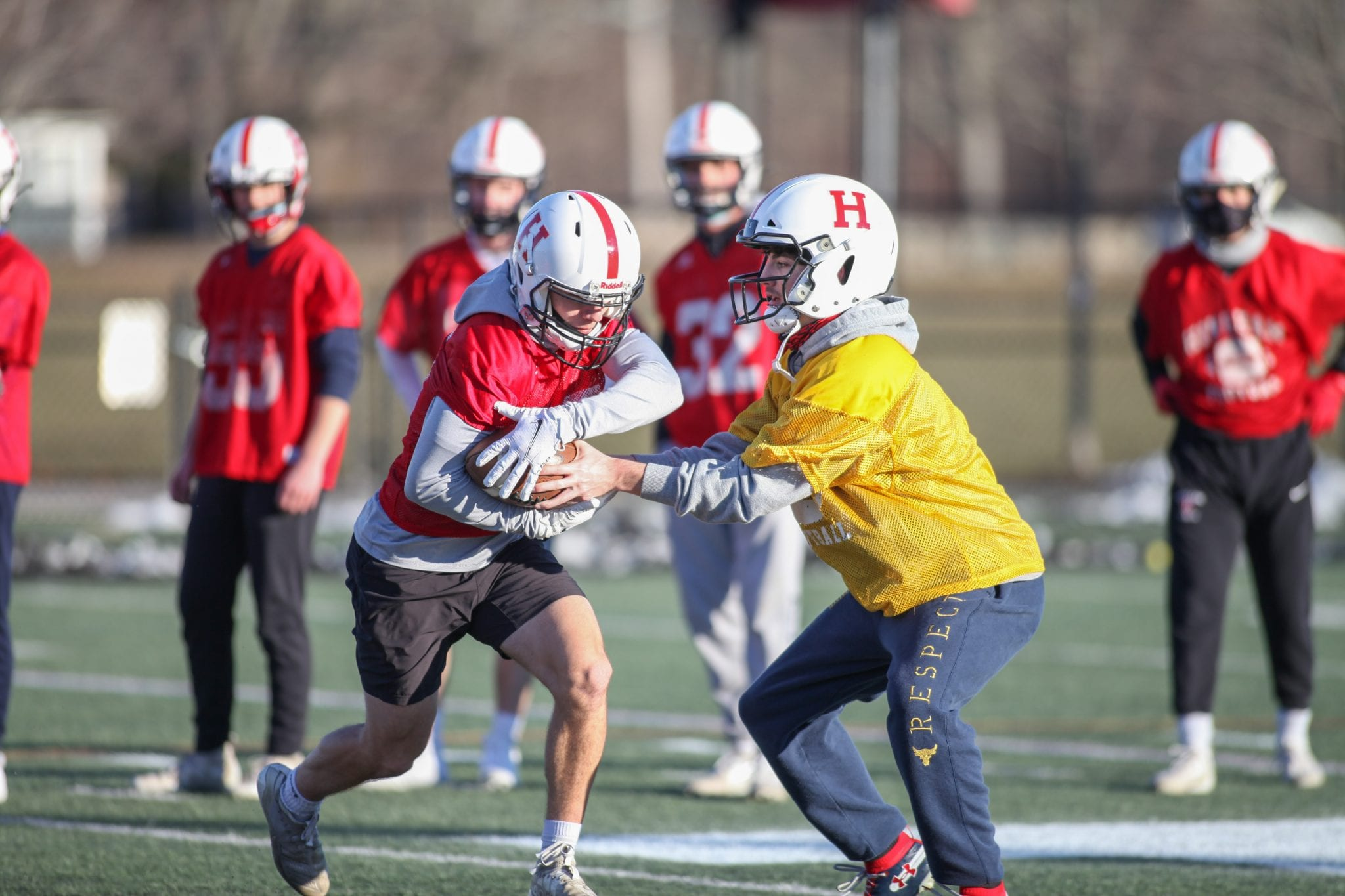 Junior quarterback Dylan Pierce getting in some reps during the first week of practice.