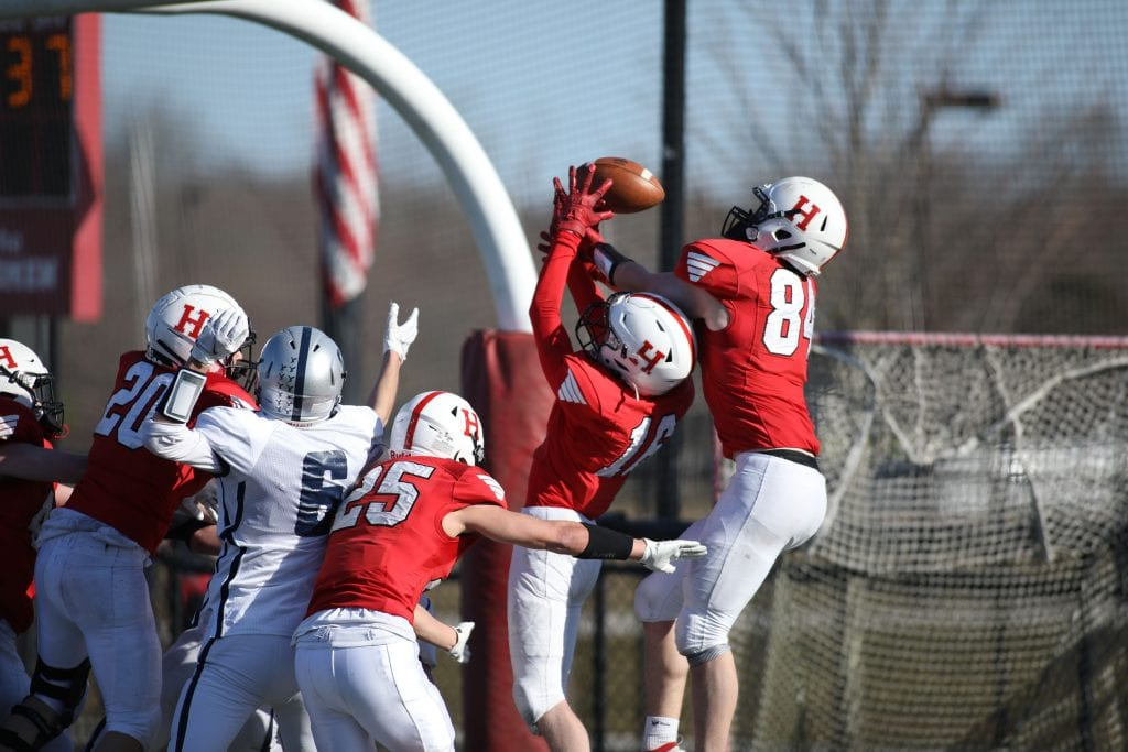 Senior Matt Lahiff(84) not only caught a TD, but also broke up the games last hail mary play.