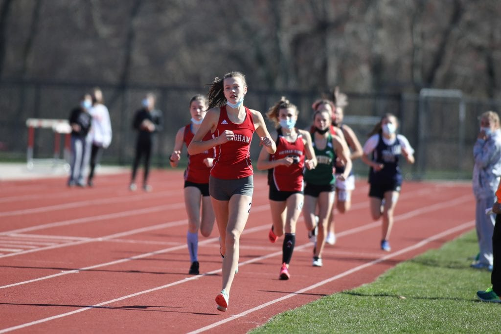 Senior Maeve Lowther had a great day finishing first in the 1 mile and the 1,000m.