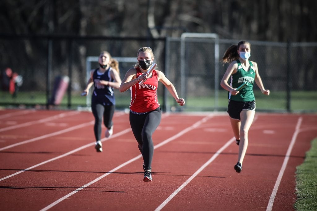 Junior Sadie Burm led off the 4x200 relay, which took first place.