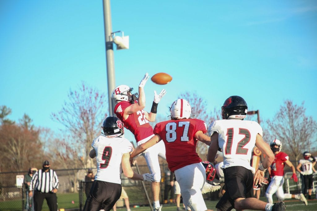 Senior Cooper Estes with the Harbomen's only touchdown of the day.