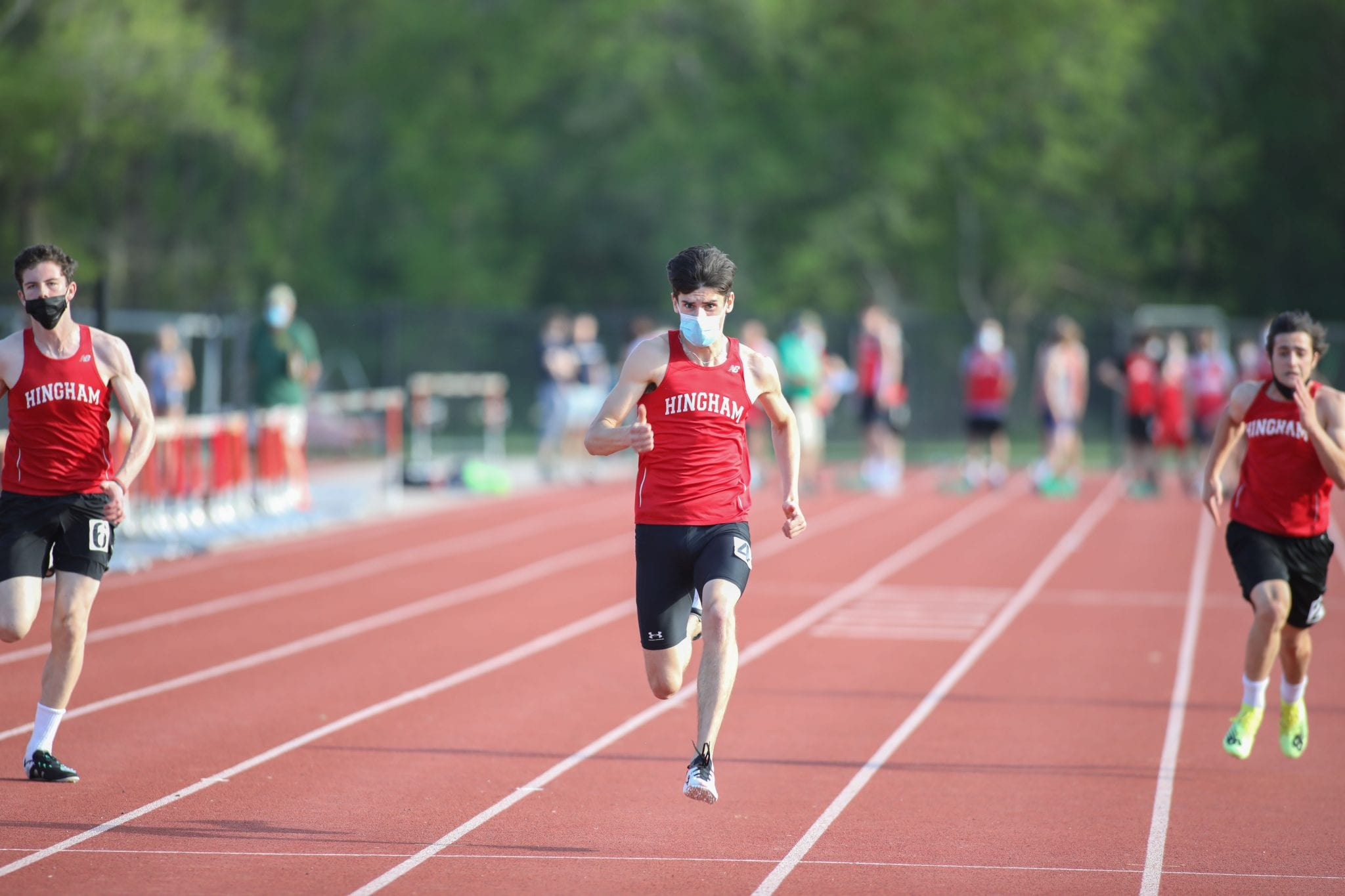 Senior Brian Fennelly won the 100 yard dash in Monday's meet vs Plymouth North.
