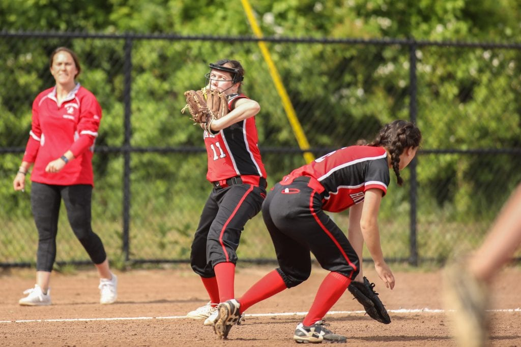 Junior Amy Maffei threw a number of runners out from third base.