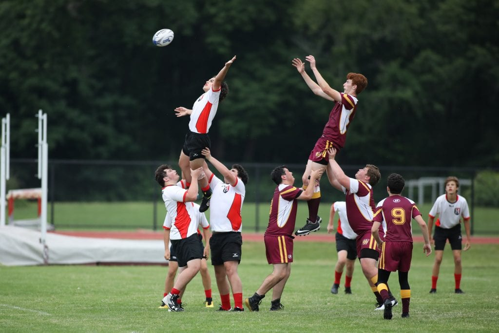 Junior Griffin Drinkwater tips the Weymouth throw in resulting in a turnover.