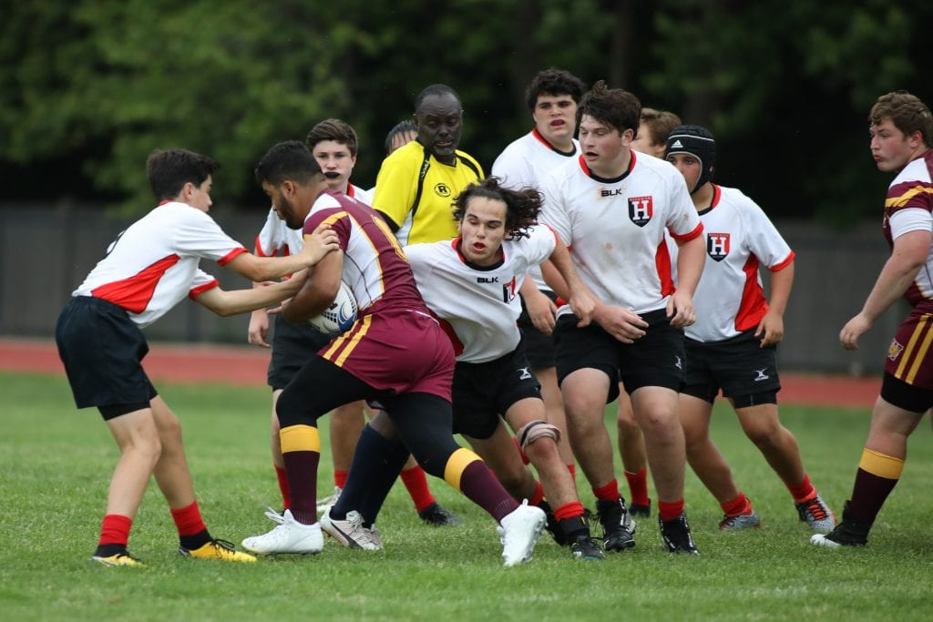 Junior Griffin Drinkwater wraps up the one of the better Weymouth players.