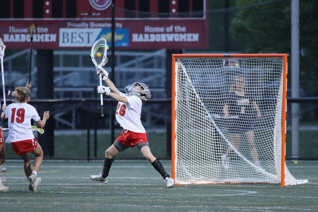 Freshman Lily Samoska with some great late game saves to keep the Harborwomen in it.