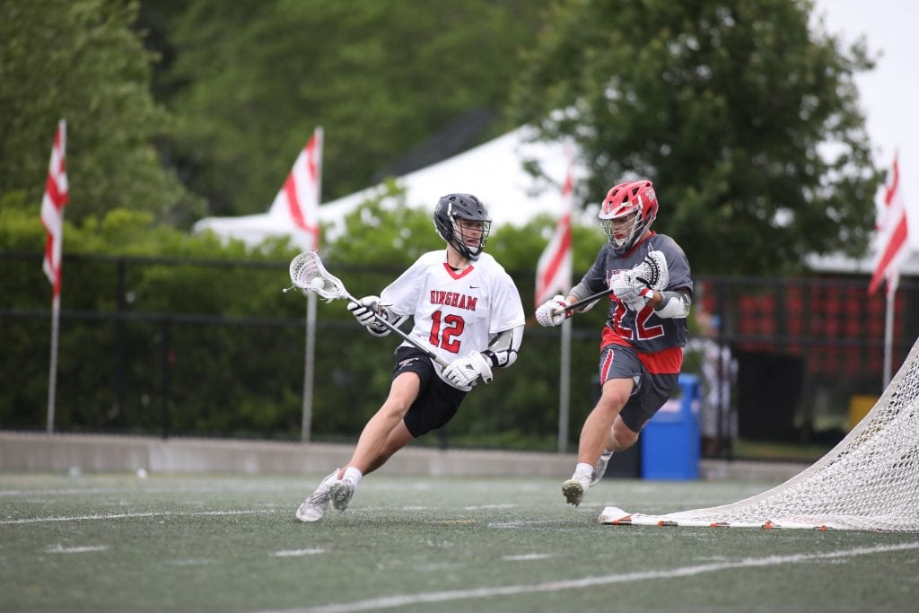 Senior Matt Falvey puts an exclamation point in the final minutes of the game.