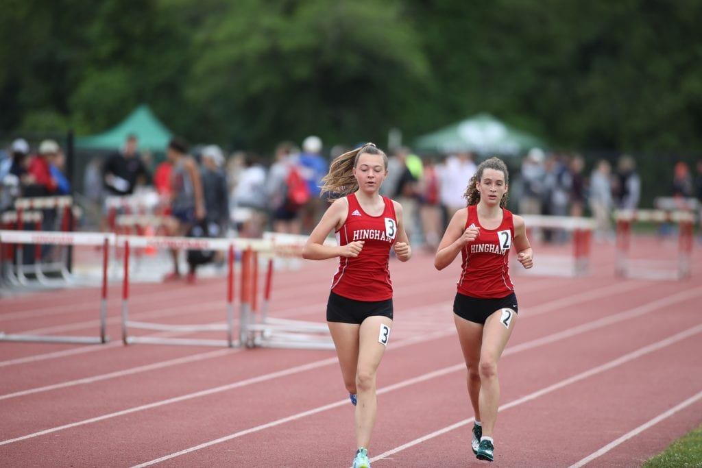 Sophomores Nora Lundin (left) and Whitley Thompson (right) finished 2nd and 3rd in the 2-mile.