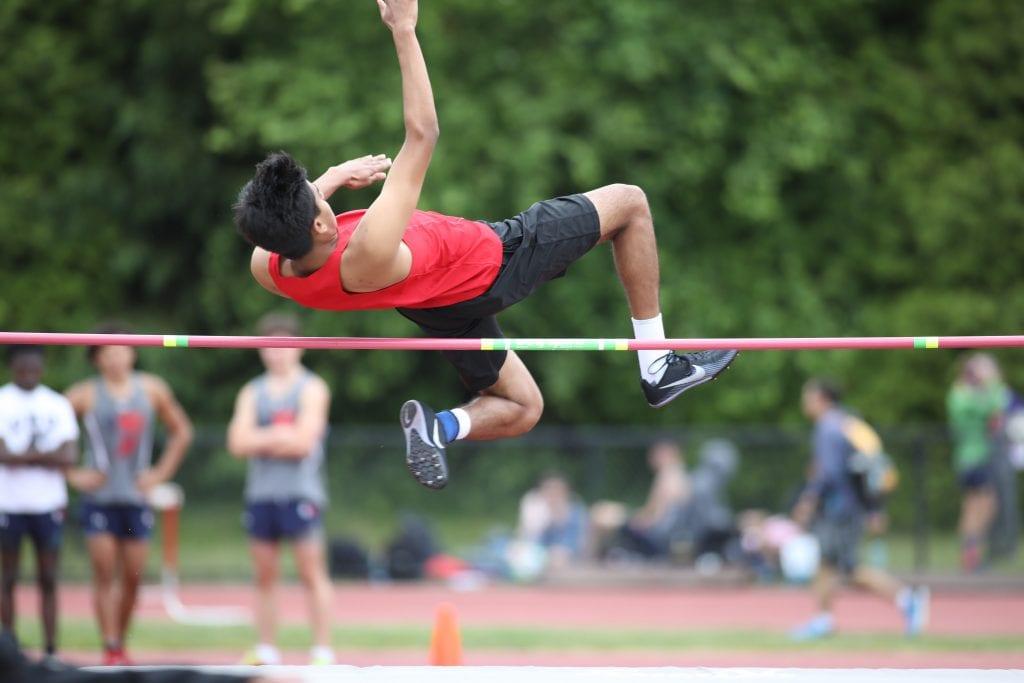 "Junior Shrey Patel clears 5' 06"" on the high jump."