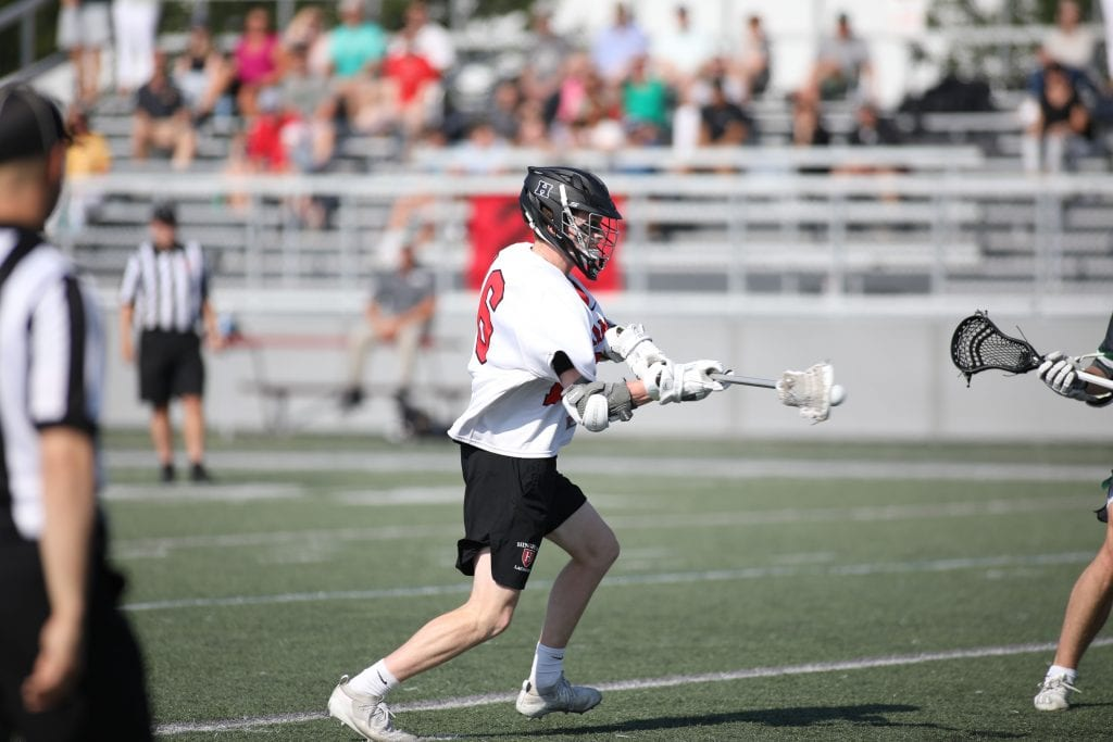 Junior Owen Hoffman with one of his two goals in the game.