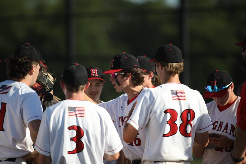Junior Bobby Falvey tried to fire up his teammates in the late innings.