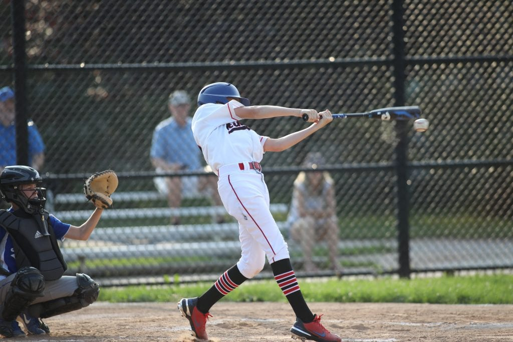 Will Jones makes contact at the plate.