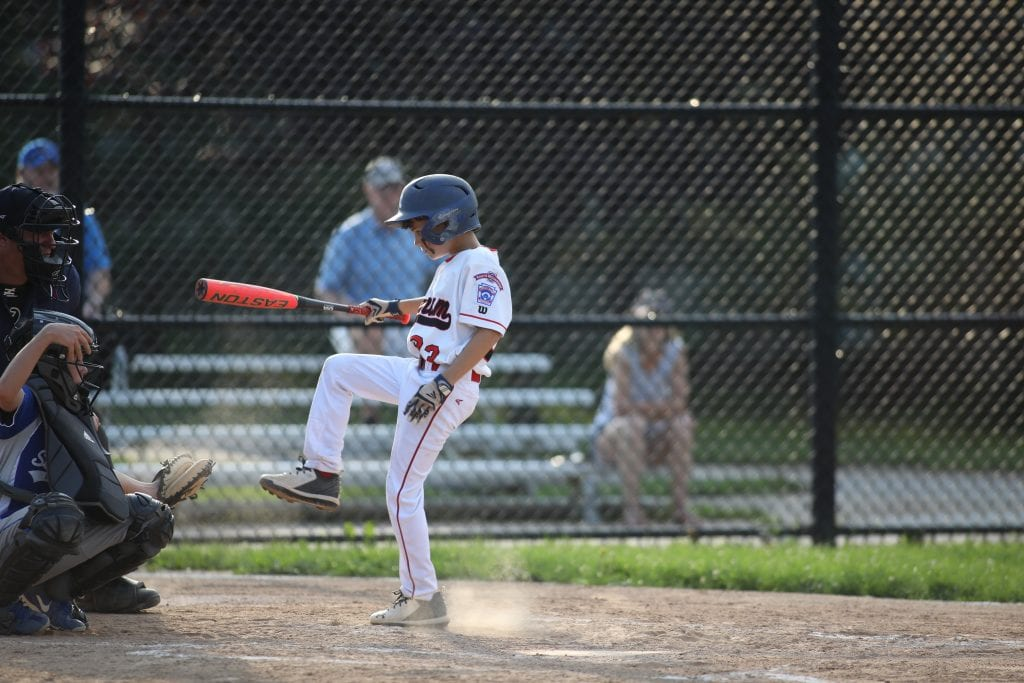 Matthew Volpe tries to avoid getting hit by a pitch.