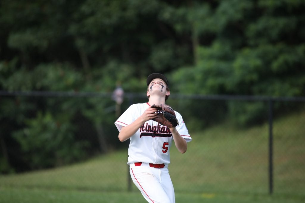 Dan Nichols makes the catch in fright field.