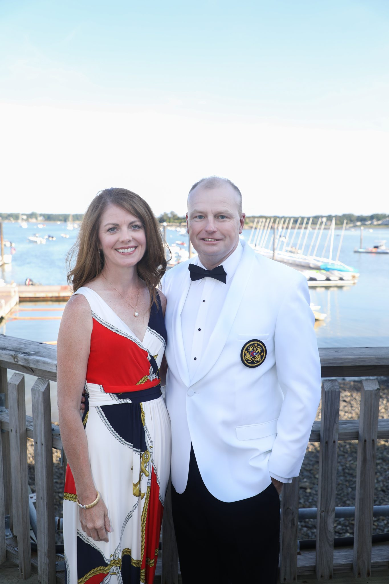 Commodore Christopher Burns and his wife Patti celebrate Hingham Yacht Club's 125th Anniversary.
