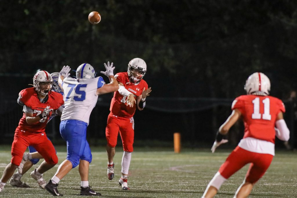 Senior QB Dylan Pierce lets the ball fly to an open reciever.