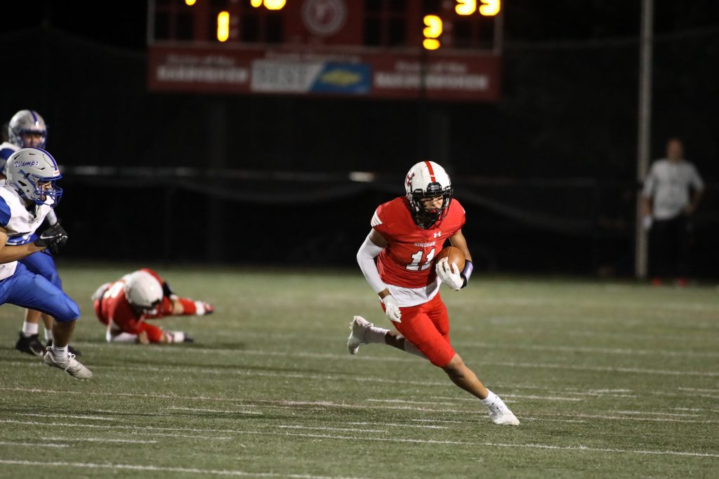 Senior Jonathan St. Ange had multiple catches during the game.
