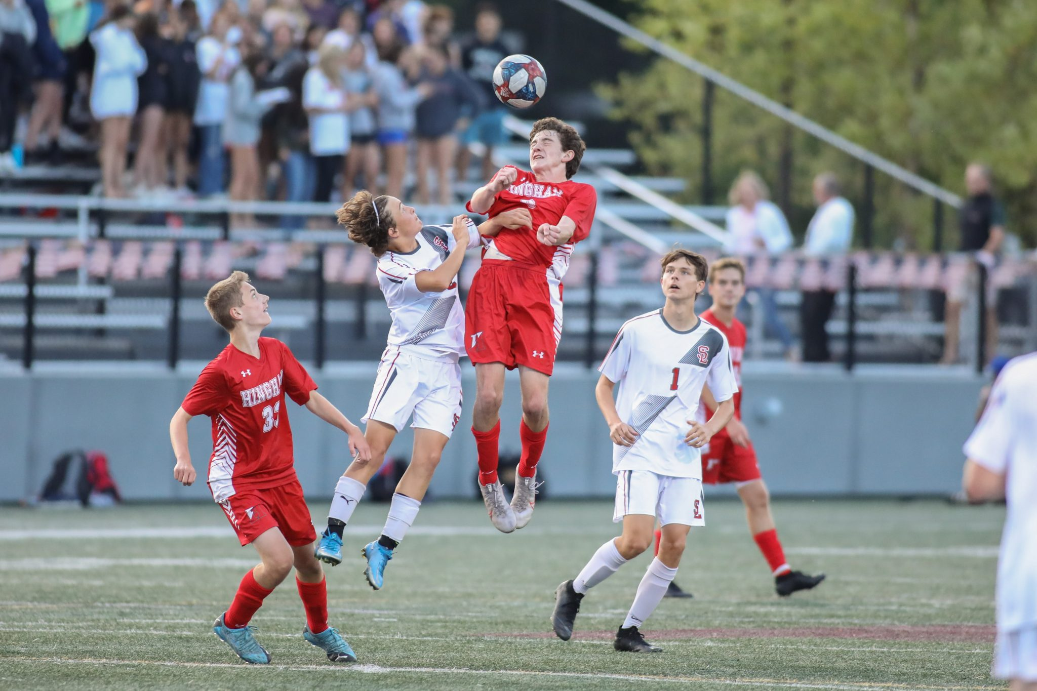 Junior Griffin Coppola out jumps a Silver Lake defender