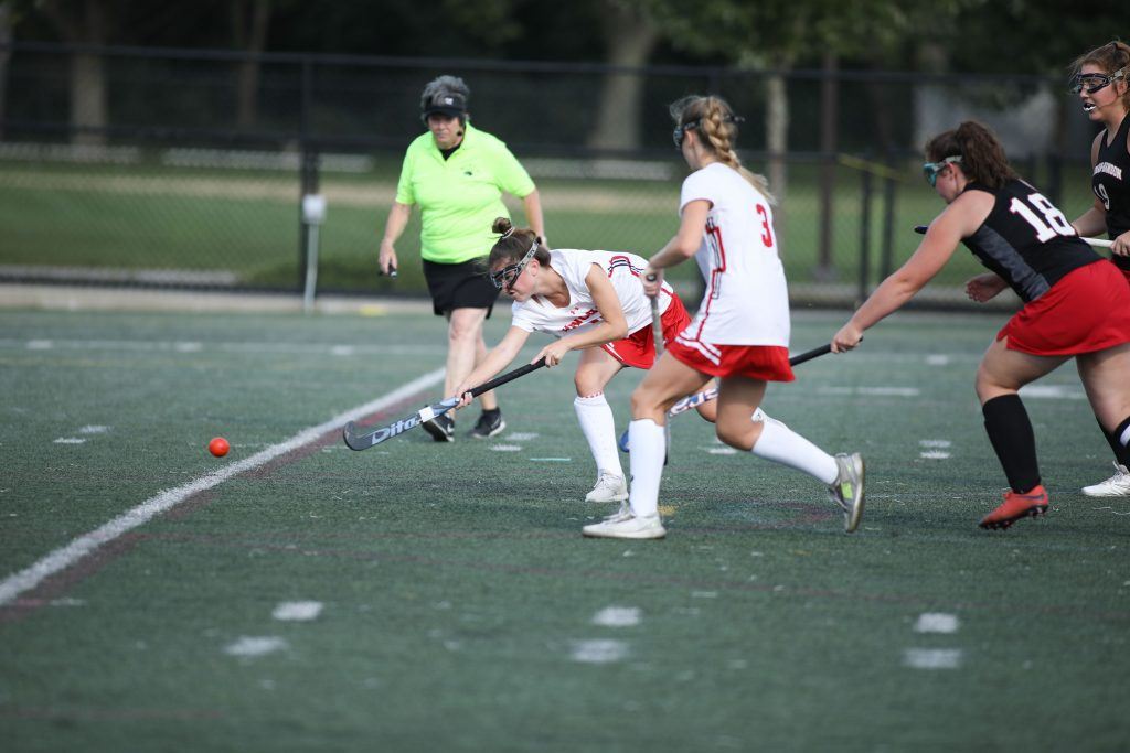Senior Annie Raso shoots on goal early in the game.