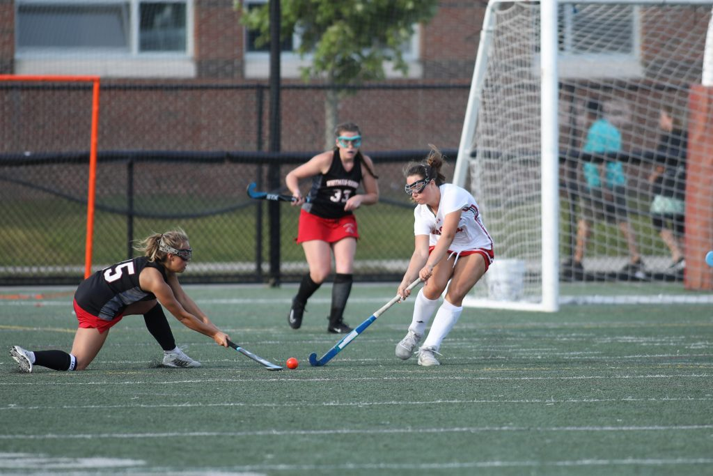 Sophomore Anna Kiernan defends the area in front of her goal.