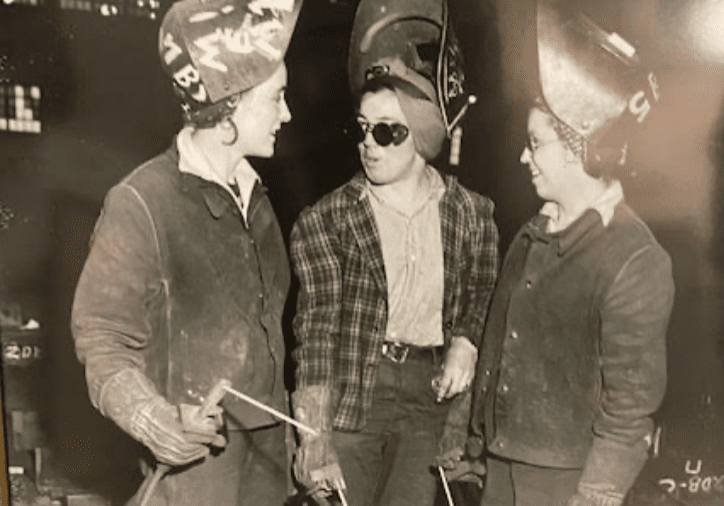 Margaret Spalluzzi was among many other young women who served as welders such as these during World War II